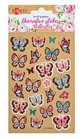 Наклейки для творчества Бабочки, 2шт., на крафтовой бумаге, разноцветные, бумажные, Santi