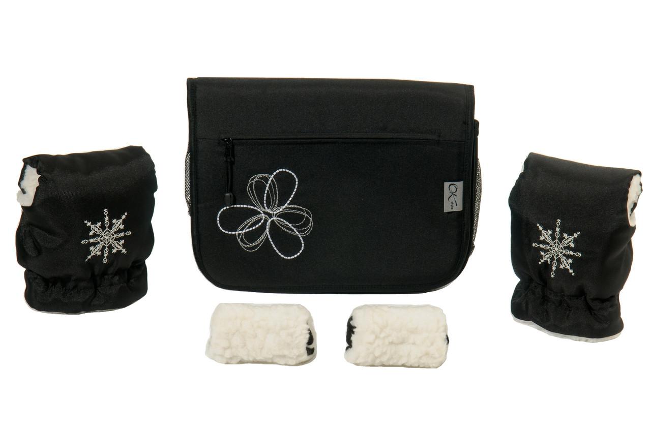 "Комплект сумка и рукавички на коляску Ok Style ""Цветок"" Черная Цветок бело-серый"