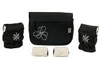 """Комплект сумка и рукавички на коляску Ok Style """"Цветок"""" Черная Цветок бело-серый, фото 1"""