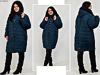 Жіноча куртка зимова з хутряним коміром, з 60-72 розмір, фото 1
