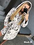 """Женский модный теплый халат с поясом в стиле """"LV"""", фото 4"""