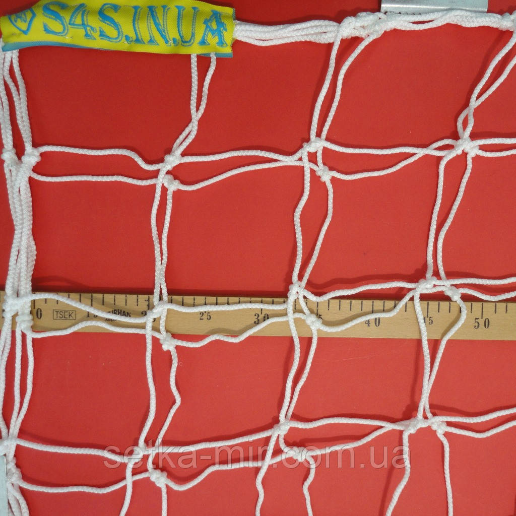 Сетка для футбольных ворот повышенной прочности «ПРЕМИУМ-ДИАГОНАЛЬ» белая (комплект из 2 шт.)