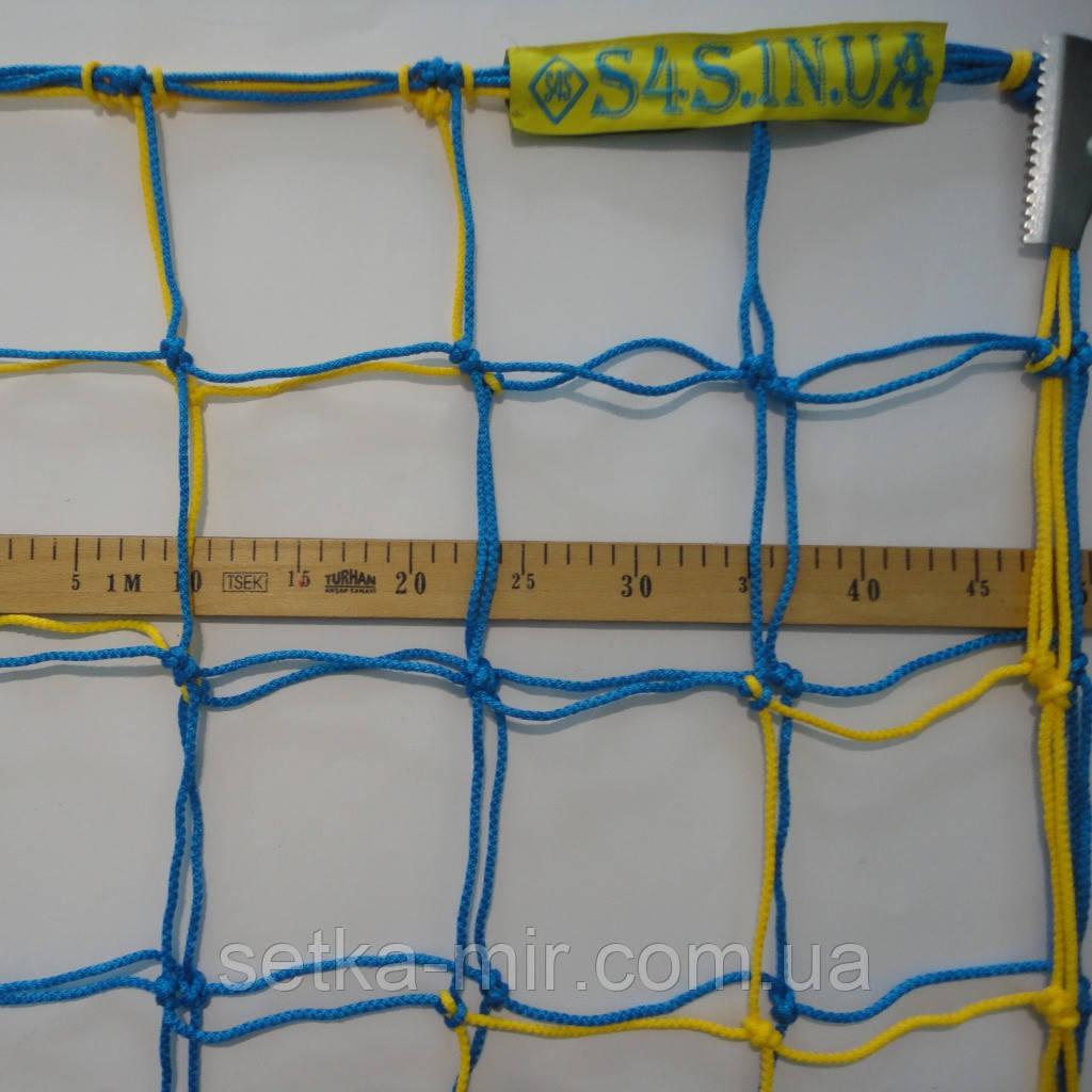 Сетка для футбола повышенной прочности «ПРЕМИУМ 2,1» желто-синяя (комплект из 2 шт.)