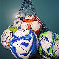 "Сетка для переноски мячей ""ЭКОНОМ"", на 10 мячей, шнур Д - 2,5 мм бело-синяя, фото 1"