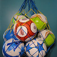 """Сетка для переноски мячей """"СТАНДАРТ"""", на 10 мячей, шнур д - 3,5 мм желто-синяя"""