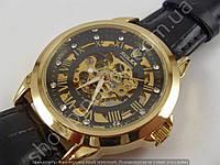 Мужские механические часы скелетон Rolex 013293 золотистые с автоподзаводом