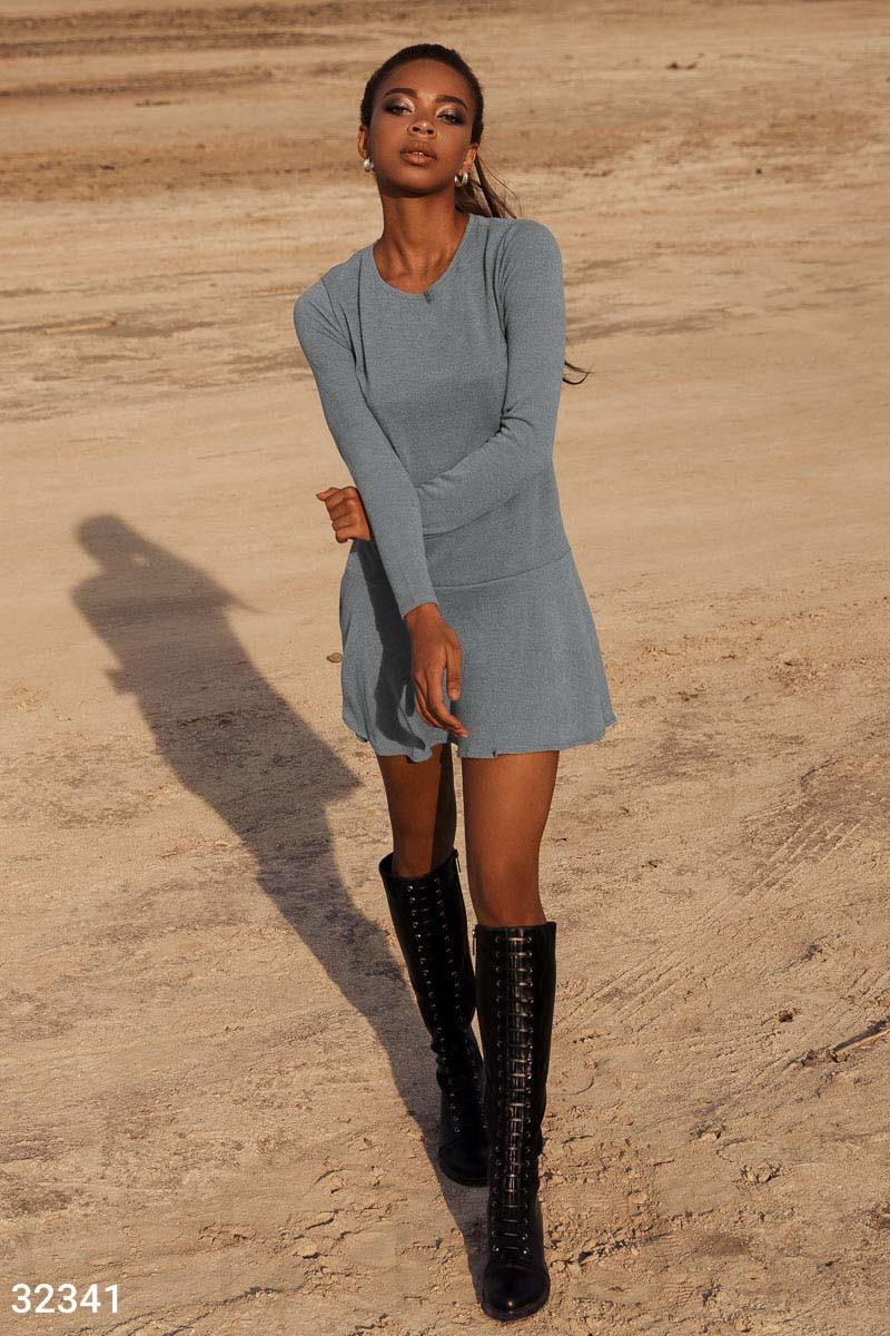 Короткий трикотажне плаття з довгим рукавом сіре