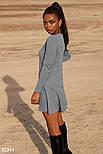 Короткий трикотажне плаття з довгим рукавом сіре, фото 2