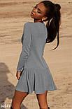 Короткий трикотажне плаття з довгим рукавом сіре, фото 3