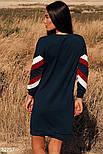 Спортивное прямое платье с длинным рукавом темно-синее, фото 5