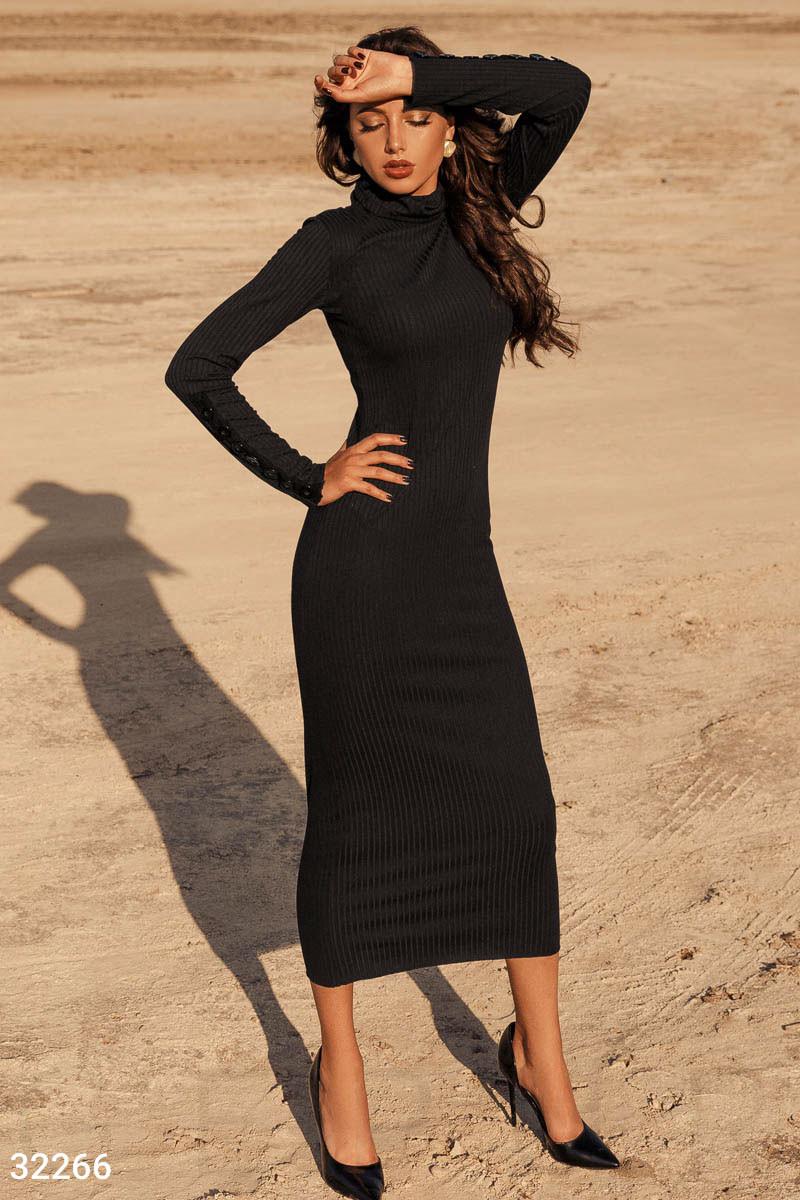 Облегающее длинное платье из трикотажа