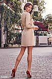 Короткое платье рубашка с поясом бежевое, фото 4