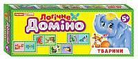 Настольная игра Логическое домино. Животные. 2в1, 5 +, (28,5х11х3см), Ranok Creative