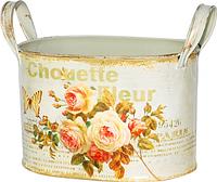 555-053-3 Кашпо металлическое овальное с ручками Чайная роза