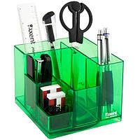 Подставка наст. (наполненая) офисная, 9 предм., прямоугольная, салатовая, прозрачная, Axent Cube
