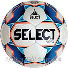 М'яч футзальний Select Futsal Mimas IMS, біло-синій, р. 4, ламінований, низький відскік
