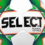 Мяч футзальный мини-футбольный Select Futsal Attack New бело-зеленый, р. 4, не ламинированный, низкий отскок, фото 2