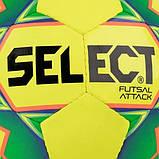 Мяч футзальный Select Futsal Attack New желто-зеленый, р. 4, не ламинированный, низкий отскок, фото 2