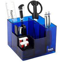Подставка наст. (наполненая) офисная, 9 предм., прямоугольная, синяя, прозрачная, Axent Cube