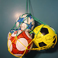 "Сетка для переноски мячей ""ЭЛИТ"", на 5 мячей, шнур Д - 4,5 мм желто-зеленая, фото 1"