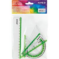 Набор линеек пласт., прозрачный, Kite , линейка 15 см, 2 треугольника, транспортир, с зел.пол.