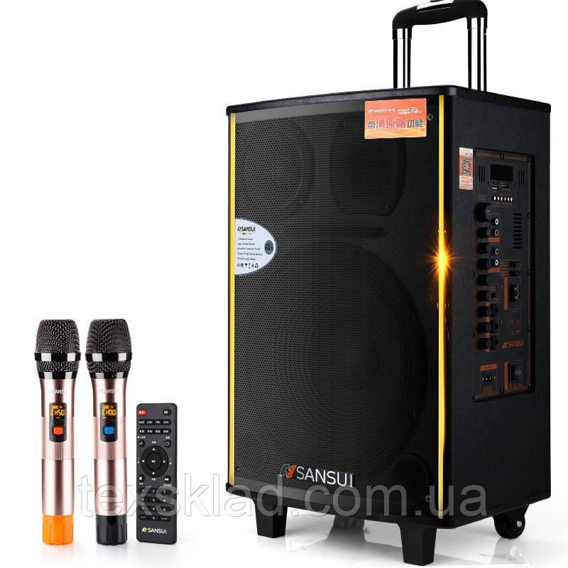 Потужна акумуляторна колонка з мікрофонами Sansui SA1-12 300W (USB/Bluetooth/Пульт ДУ)