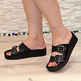 Женские шлепанцы на утолщенной подошве, натуральная кожа черного цвета, фото 6