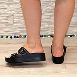 Женские шлепанцы на утолщенной подошве, натуральная кожа черного цвета, фото 8