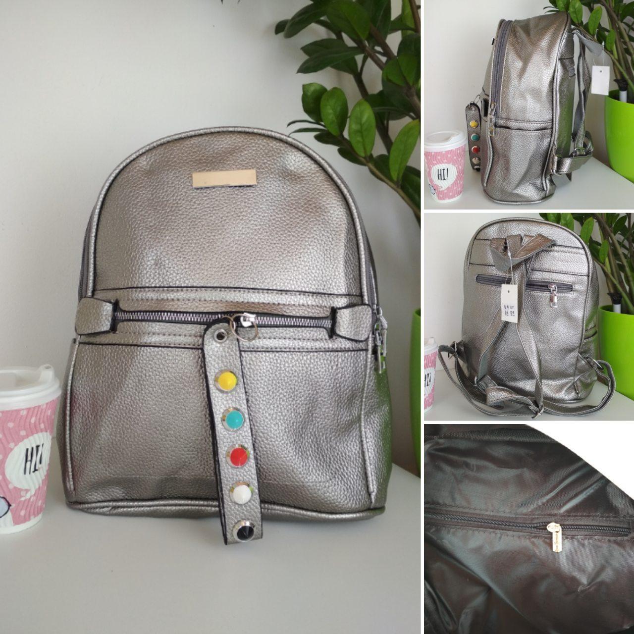 Мини-рюкзак из кожзама для девочки подростка 33*24*12 см