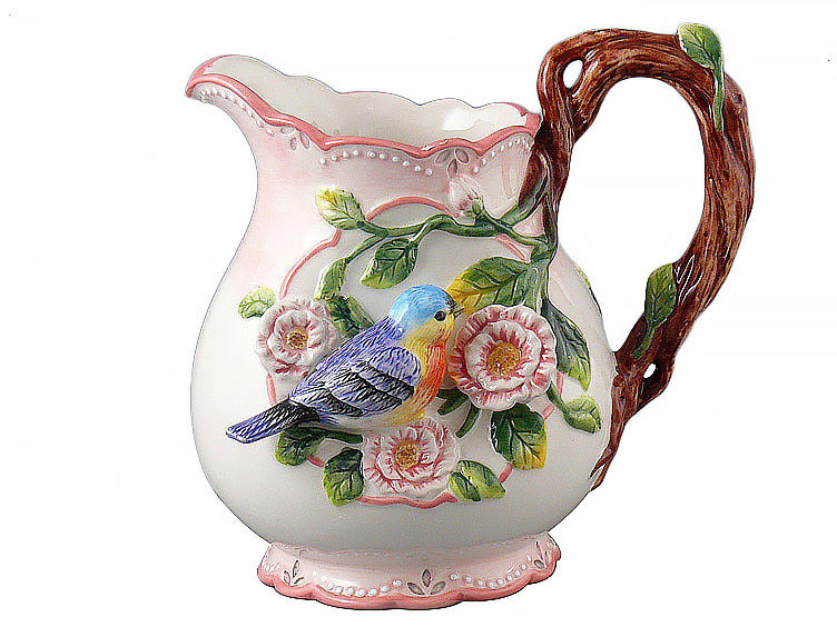 Кувшин керамический Lefard Птица в цветах 20 см  59-471