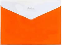 Папка на кнопке А4, Economix , непрозр. пласт., оранж., с расширением