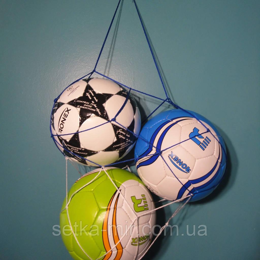 """Сетка для переноски мячей """"ЭКОНОМ минимум"""", на 3 мяча, шнур Д - 2,5 мм, бело-синяя"""