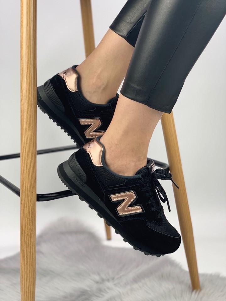 Женские кроссовки New Balance 574 (black/gold), черные женские кроссовки New Balance 574