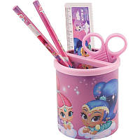 Подставка наст. (наполн.) детская, 4 предмета, круглая, розовая, Kite Shimmer&Shine