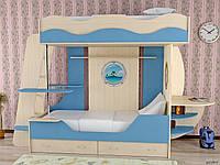 Детская двухъярусная кровать чердак дюл36 ( 2 места, лестница, защита,ЛДСП 16 мм), фото 1