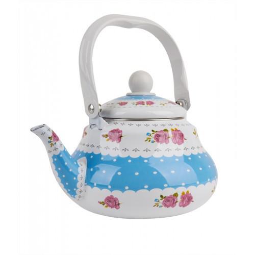 Чайник UNIQUE UN-2304 1,5 л кухонный эмалированный белый с голубым