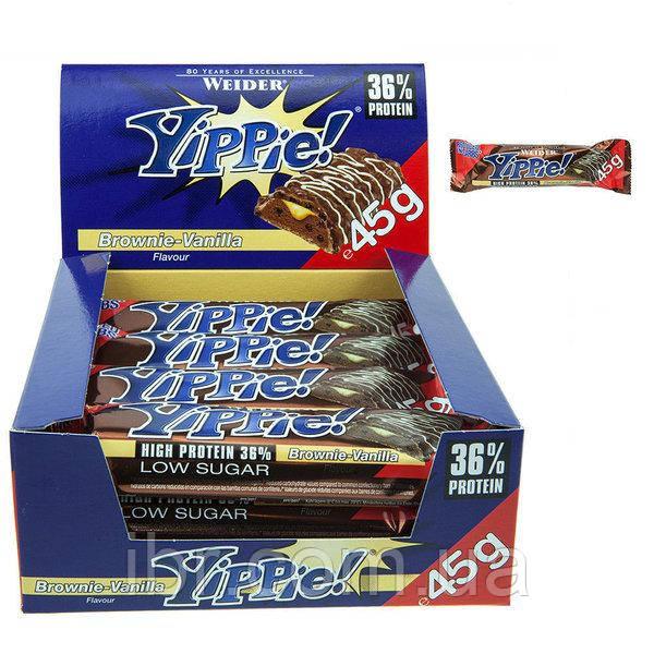 Протеиновый батончик WEIDER Yippie! 45 g Brownie-Vanilla 12 шт