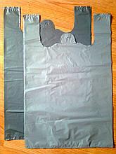Пакеты-майка 38*65 см/35 мкм без печати, плотные без рисунка, пакет полиэтиленовый прочный без логотипа