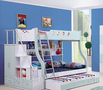 """Детская двухъярусная кровать чердак дм 158 """"Трио"""""""