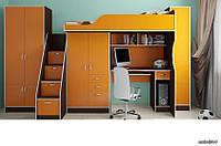 Детская кровать чердак со шкафом и пеналом Дет 49