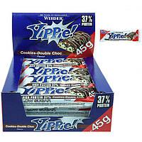 Протеиновый батончик WEIDER Yippie! 45 g Cookies-Double Choc 12 шт, фото 1