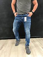 Джинсы мужские Zara синие зауженые с потертостями на коленях