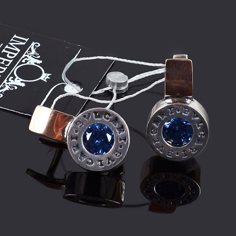Серебряные серьги Булгари с синим камнем