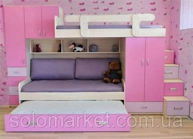 Дитяче ліжко для трьох дітей ДМ 715