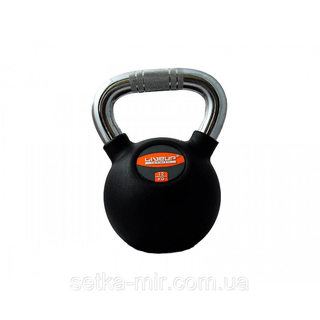 Гиря в резиновой оболочке LiveUp Rubber Kettel Bell, 12 кг
