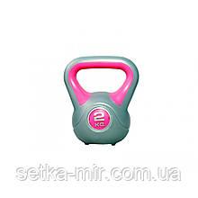 Гиря пластиковая насыпная LiveUp Plastic Kettel Bell, 2 кг