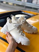 Женские кроссовки Dior (full white), женские белые кроссовки Диор, женские кроссовки Диор