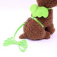 Шлейка + поводок для кошек «Ангелочек», зеленый