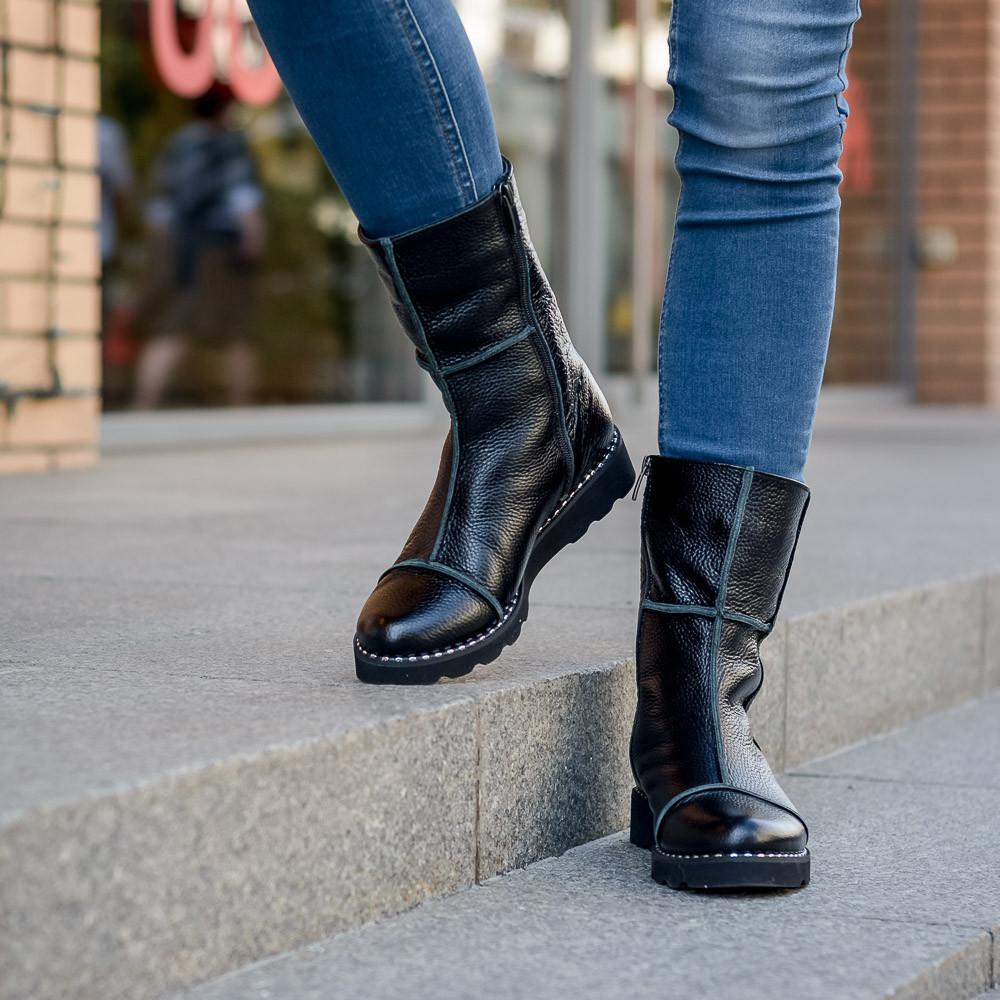 Ботинки женские из натуральной кожи . Цвет под заказ.