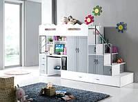 Детская кровать чердак Дюл 90 (защита, стол, шкаф, лестница-комод)